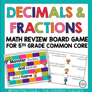 Fractions And Decimals Board Game 5th Grade Common Core Aligned The Hungry Teacher